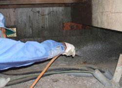 床下では、木部処理及び土壌に薬剤散布を行います。